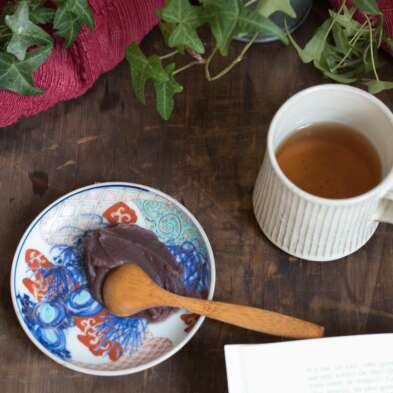 Crème d'azuki sans morceaux à la framboise koshi-an confectionnée par azukiya, pâtisserie japonaise artisanale à Colmar.