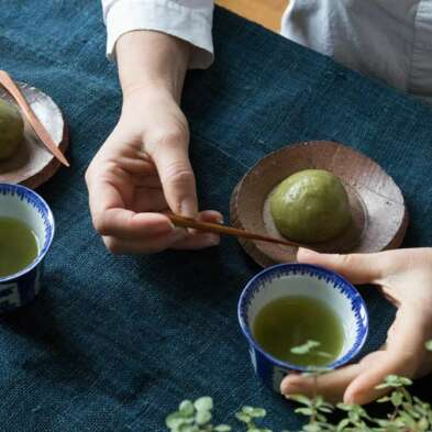 Daifuku matcha-framboise par azukiya, pâtisserie japonaise artisanale à Colmar.